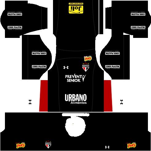 kit são paulo dls17 uniforme goleiro casa 16-17