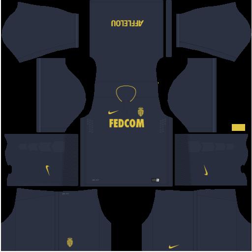 kit Monaco dls 17 uniforme fora de casa