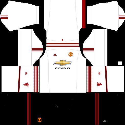 kit manchester united dls16 uniforme fora de casa 15-16