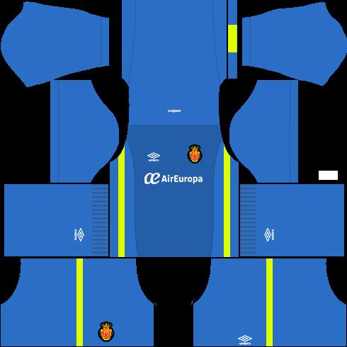 Kit Real Mallorca dls17 goleiro fora de casa