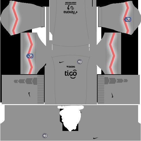 Kit dls17 cerro porteño uniforme goleiro casa 15-16