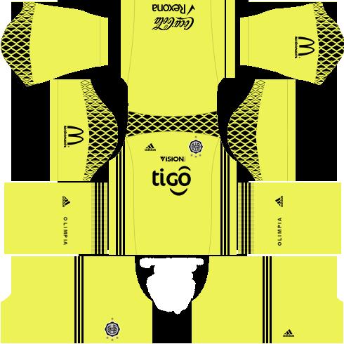 Kit uniforme olimpia dls17 goleiro fora de casa 17-18