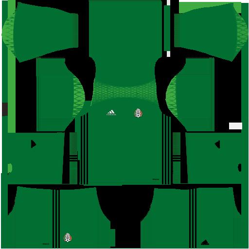 Kit Mexico dls18 home Gk - uniforme goleiro casa - copa 2014