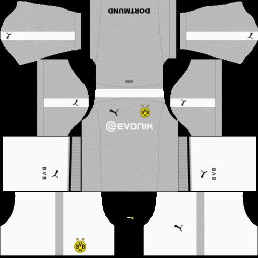 Kit borussia Dortmund dls17 third - terceiro uniforme 17-18