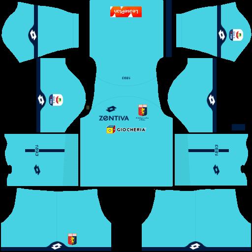 Kit genoa dls home Gk uniforme goleiro casa 18-19