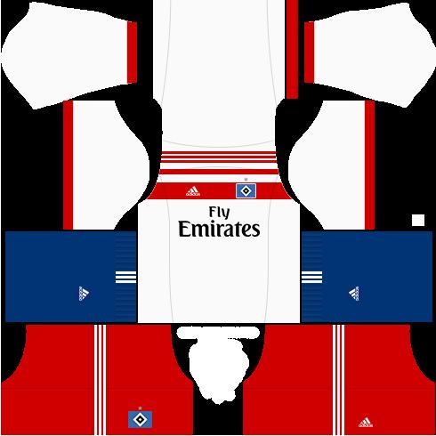 Kit hamburgo dls17 home - uniforme casa 17-18