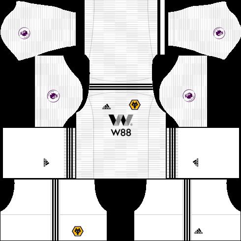 Kit wolverhampton dls away - uniforme fora de casa-18-19