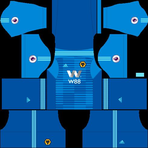 Kit wolverhampton dls home Gk - uniforme goleiro casa-18-19