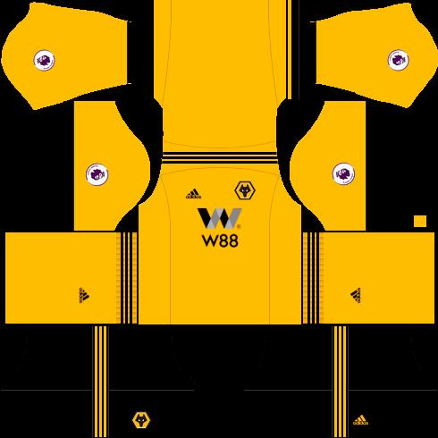 Kit wolverhampton dls home - uniforme casa-18-19