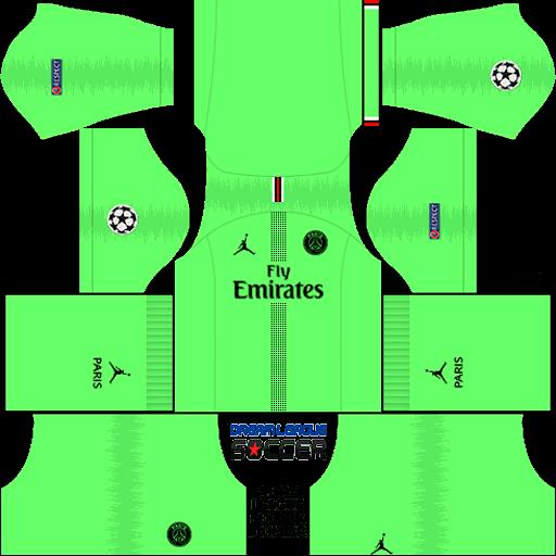 kit-PSG-dls18-home-Gk-liga-dos-campeoes-uniforme-goleiro-casa-18-19