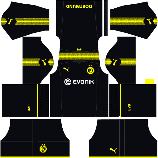 kit borussia Dortmund dls17 away - uniforme fora de casa 17-18